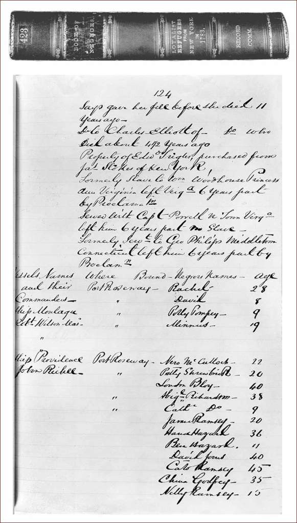 Example of List from Carleton's Book of Negroes | photo Nova Scotia Museum